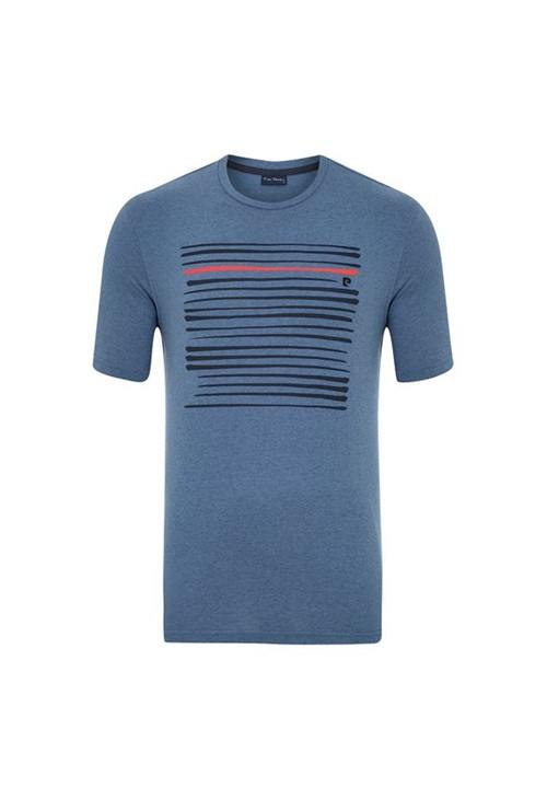 Camiseta Silk Listras Azul Jeans P