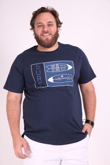 Camiseta com Estampa Tropical Plus Size Azul Marinho EX