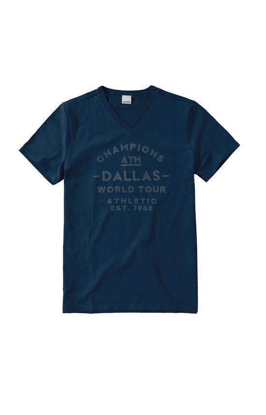 Camiseta Slim Dallas Malwee Azul Escuro - GG
