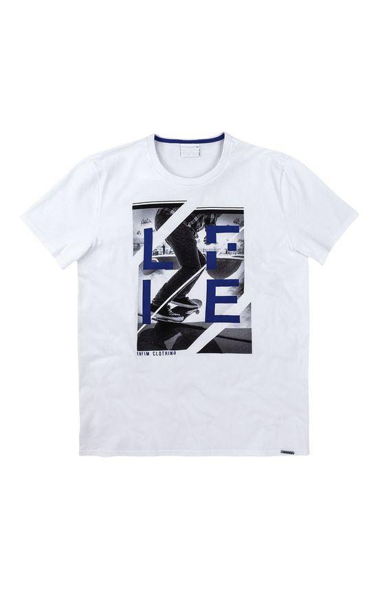 Camiseta Slim Estampa Frontal Enfim Branco - PP