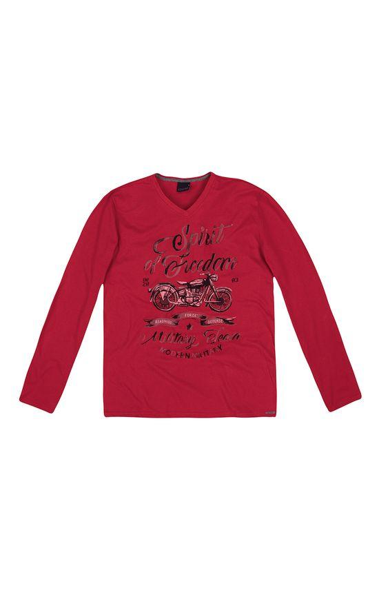 Camiseta Slim Estampada Enfim Vermelho - G