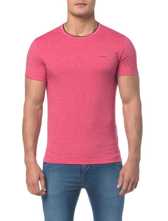 Camiseta Slim Gola Retilinea Mouline - Rosa Escuro - P