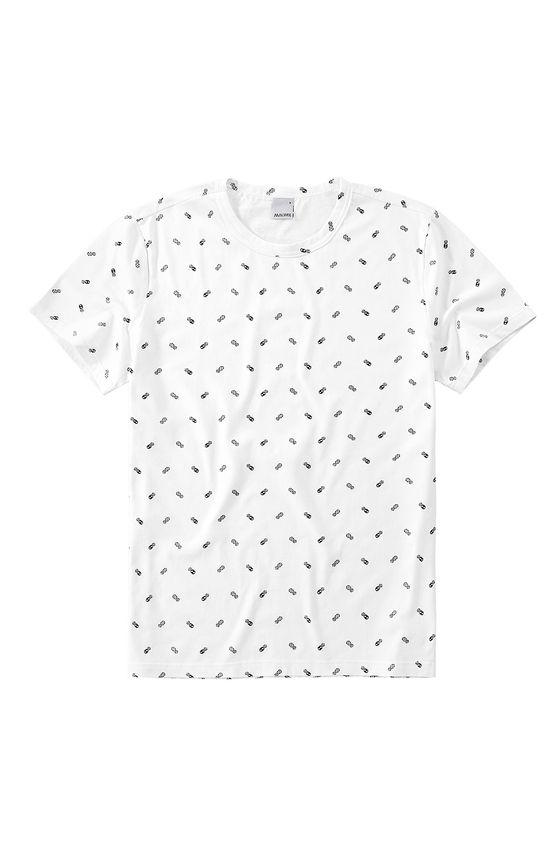 Camiseta Slim Malha Abacaxis Malwee Branco - G