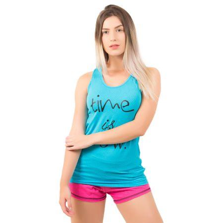 Camiseta Sobre Legging Regata Feminina com Silk (Azul Claro) M