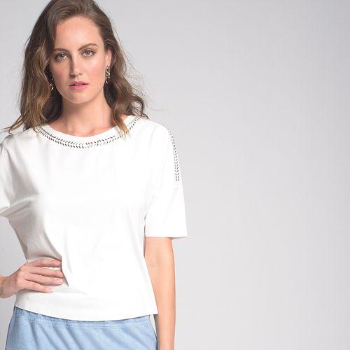 Camiseta Suede Aplicação Off White - G