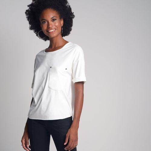 Camiseta Suede Bolso Off White - M