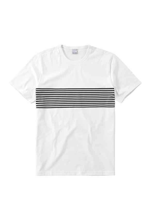 Camiseta Tradicional Listrada Malwee Branco - GG