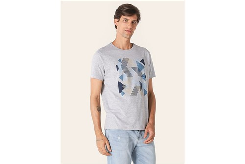 Camiseta Trama Geométrica - Cinza - P