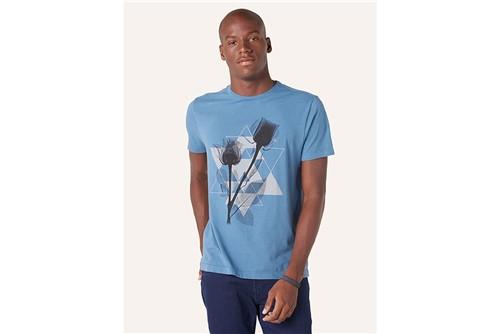 Camiseta Triângulos e Flores - Azul - G