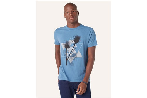 Camiseta Triângulos e Flores - Azul - M