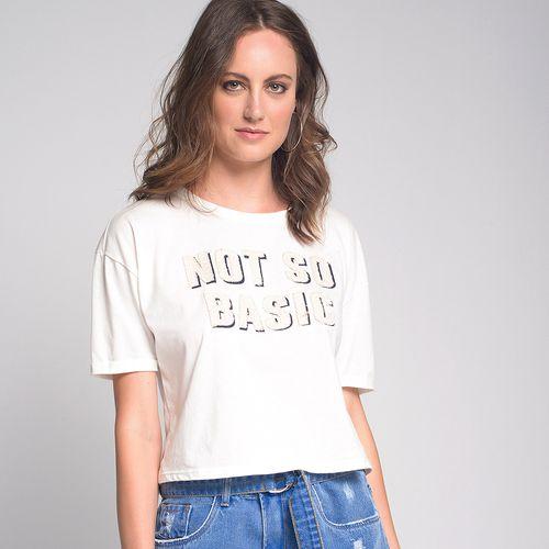 Camiseta Tweed Basic Off White - P