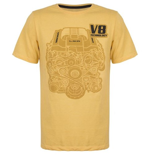 Camiseta V8 Technology Masculino Camaro Gm Amarelo Mescla P 11428