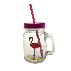 Caneca com Canudo Flamingo