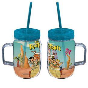 Caneca com Canudo Personagens Turma Flintstones