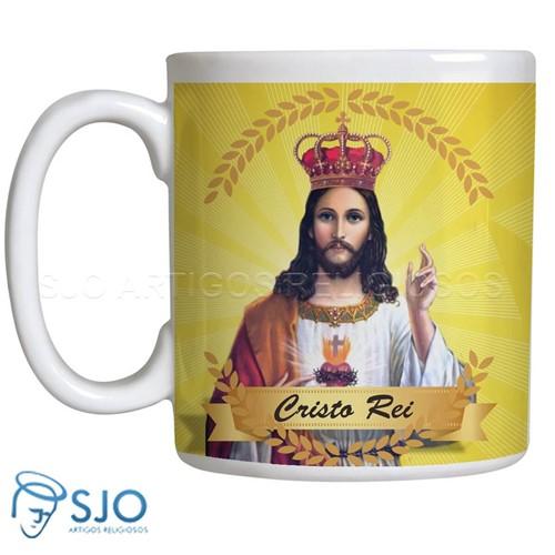Caneca Cristo Rei com Oração | SJO Artigos Religiosos