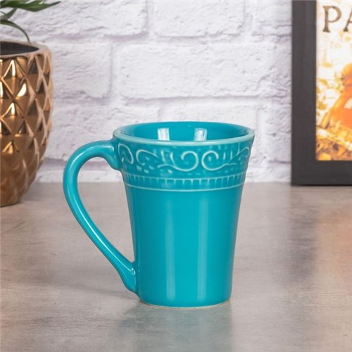 Caneca de Cerâmica Relevado Scalla Cerâmica Azul Piscina Azul Piscina