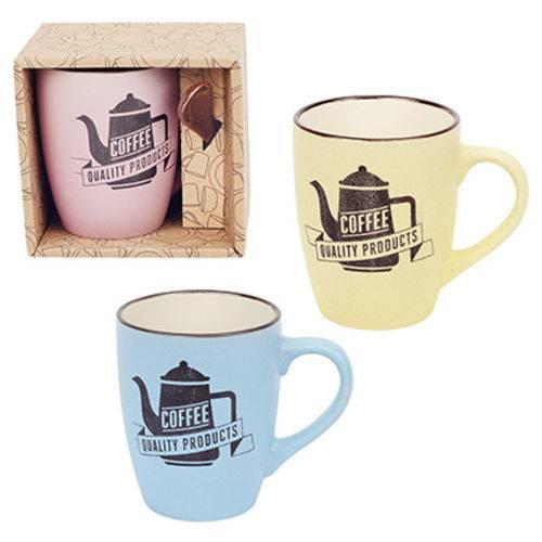 Caneca de Porcelana com Colher Coffee Colors 340ml