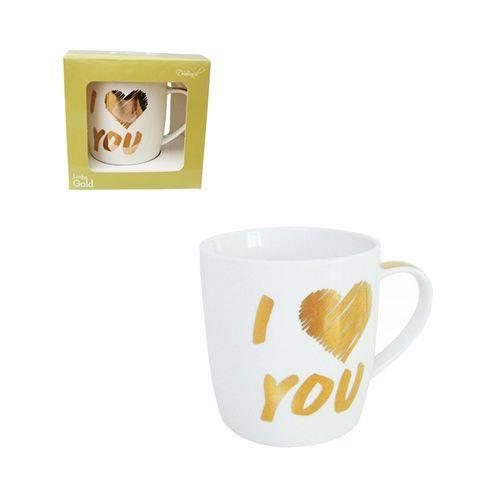Caneca de Porcelana Gold I Love You 320 Ml