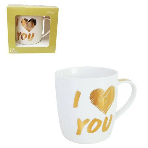 Caneca de Porcelana Gold I Love You 320ml