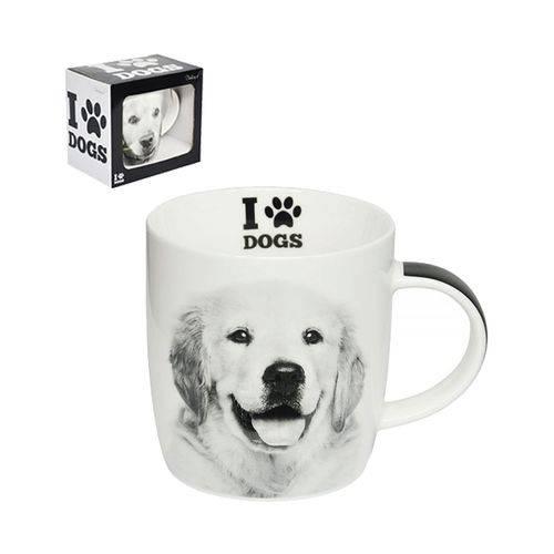 Caneca de Porcelana I Love Dogs Golden Retriever 320 Ml - Dm Brasil