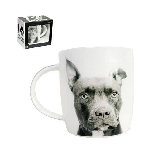 Caneca de Porcelana I Love Dogs Pit Bull 320 Ml - Dm Brasil