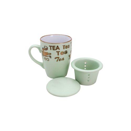 Caneca em Porcelana com Infusor Bon Gourmet Vintage Letters 350ml Verde