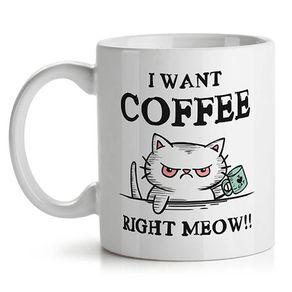 Caneca eu Quero Cafe Meow Gato Gatinho