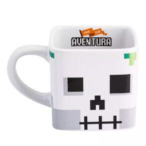 Caneca Minecraft Esqueleto Caveira Pixel Aventura