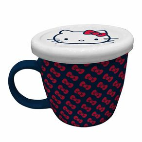 Caneca Porcelana com Tampa Hello Kitty