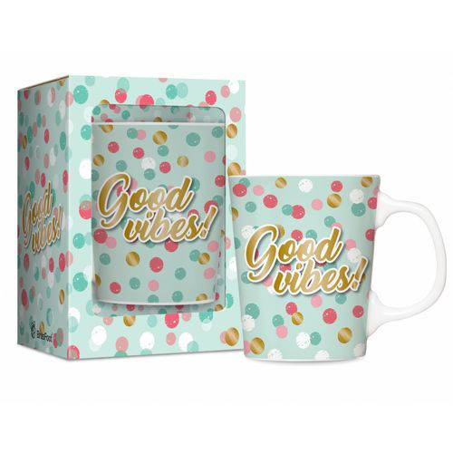 Caneca Porcelana Premium Good Vibes 280ml Presente Café