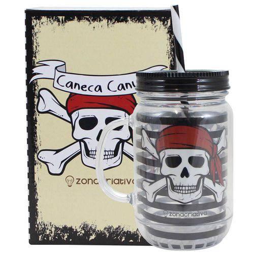 Caneca Pote Canudo 500ml Caveira Pirata Zona Criativa