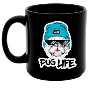 Caneca Preta Cachorro Pug Life