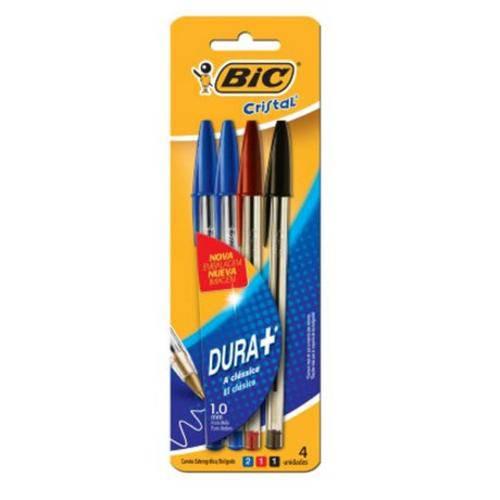 Caneta Bic Cristal Azul/Vermelha/Preta Bl C/ 4