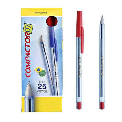 Caneta Compactor 07 Vermelha Cx C/ 25