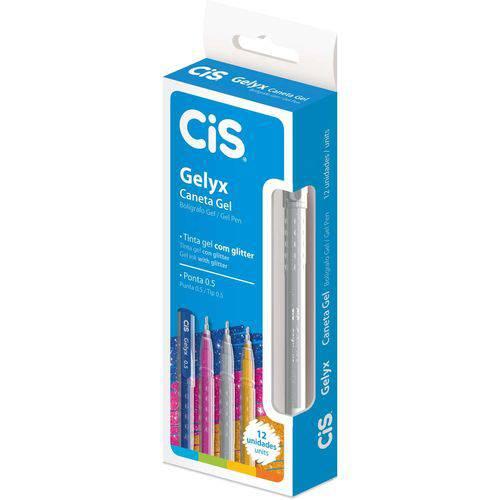 Caneta Gel Cis Gelyx 1.0mm Prata (12 Unidades) - Sertic