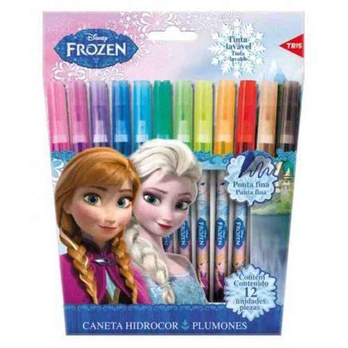 Caneta Hidrográfica 12 Cores Frozen Tris