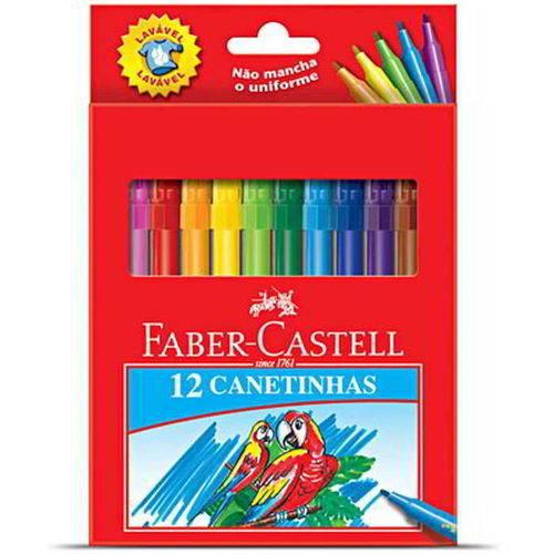 Caneta Hidrográfica 12 Cores Grande Faber-castell