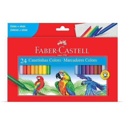 Caneta Hidrográfica Faber-castell Colors Lavável 24 Unidades