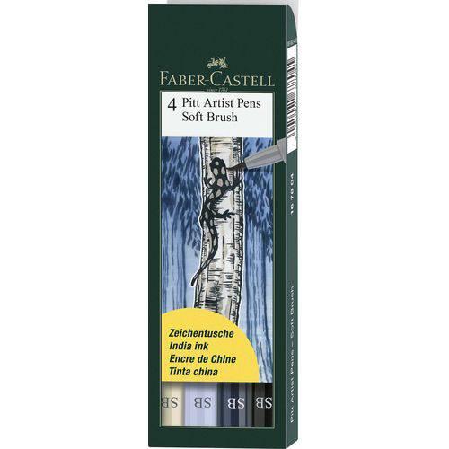 Caneta Pincel Pitt Soft Brush Estojo com 4 Unidades Faber-castell