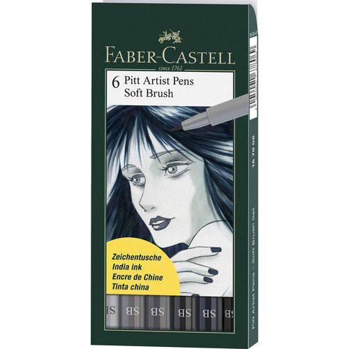 Caneta Pincel Pitt Soft Brush Estojo com 6 Unidades Faber-castell