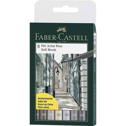 Caneta Pincel Pitt Soft Brush Estojo com 8 Unidades Faber-castell