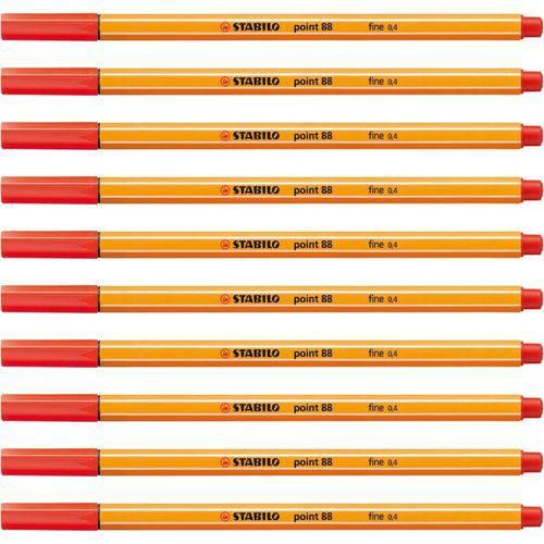 Caneta Stabilo 88/48 Point Vermelho Claro Sertic 10 Unidades.