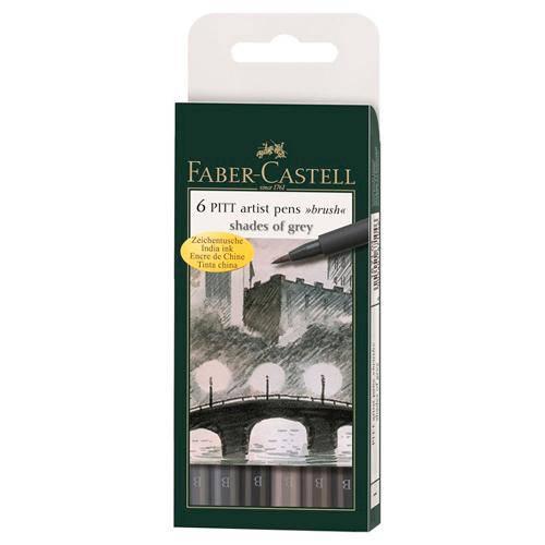 Canetas Pitt Brush Ponta Pincel Faber-Castell - Estojo com 6 Tons de Cinza - Ref 167104