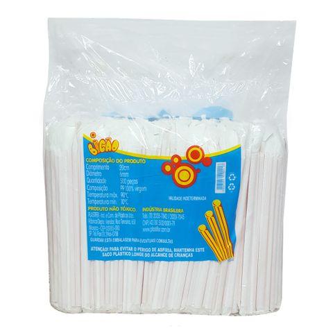 Canudo Plástico Milkshake Embalado C/500 - Bicão