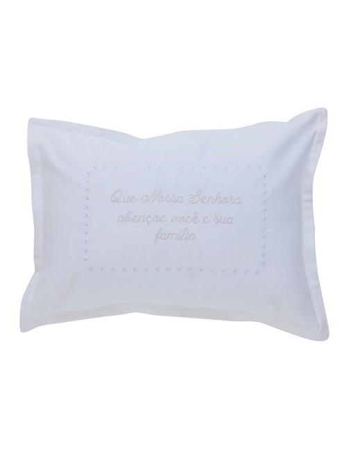 Capa Almofada Oração Nossa Senhora - Branco-prata - 30x40