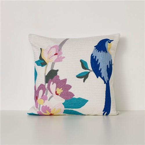 Capa Almofada Usignolo 50x50 - Marfim-azul-rosa - 50x50