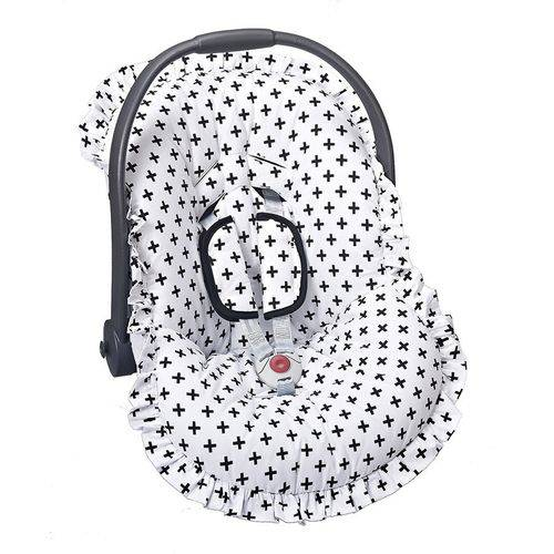 Capa Bebê Conforto Cruzinha Preto 3 Peças