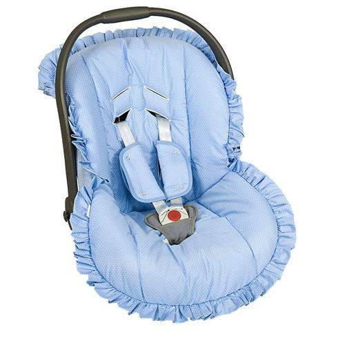 Capa Bebê Conforto Poá Azul 3 Peças