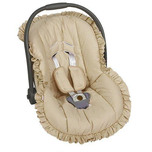 Capa Bebê Conforto Poá Bege 3 Peças