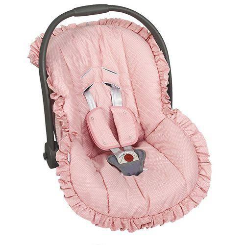 Capa Bebê Conforto Poá Rosa 3 Peças